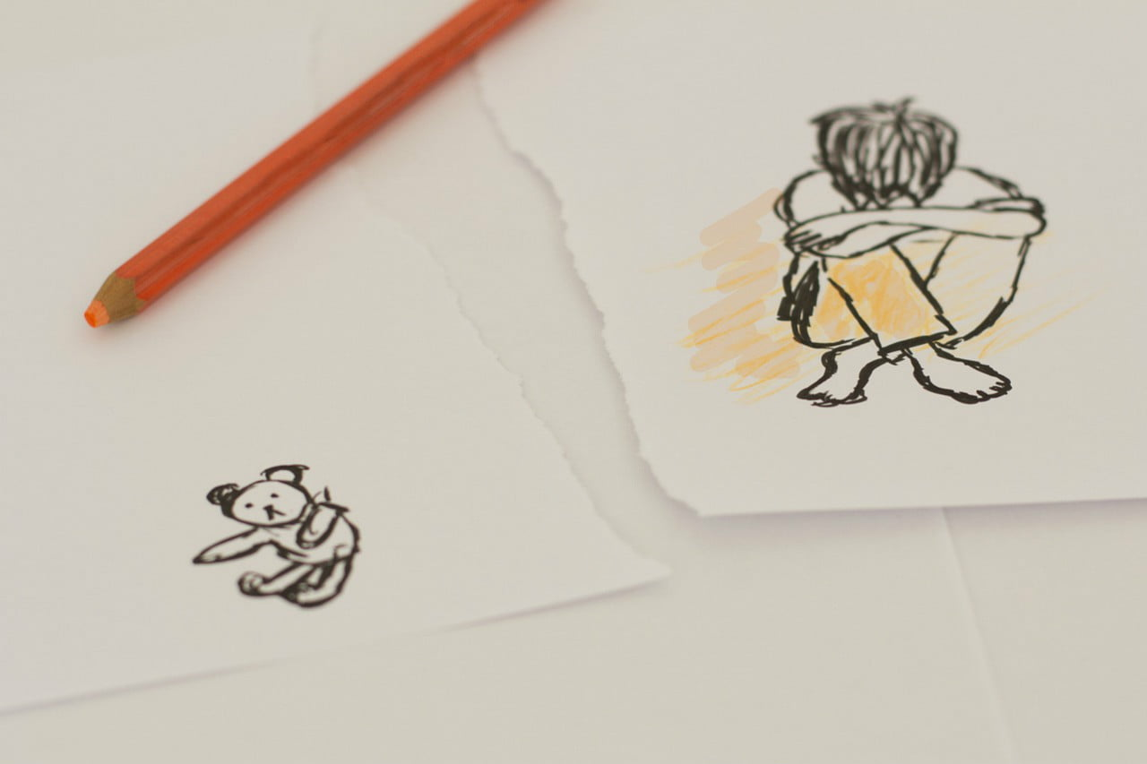 Illustration of child and teddy bear separated
