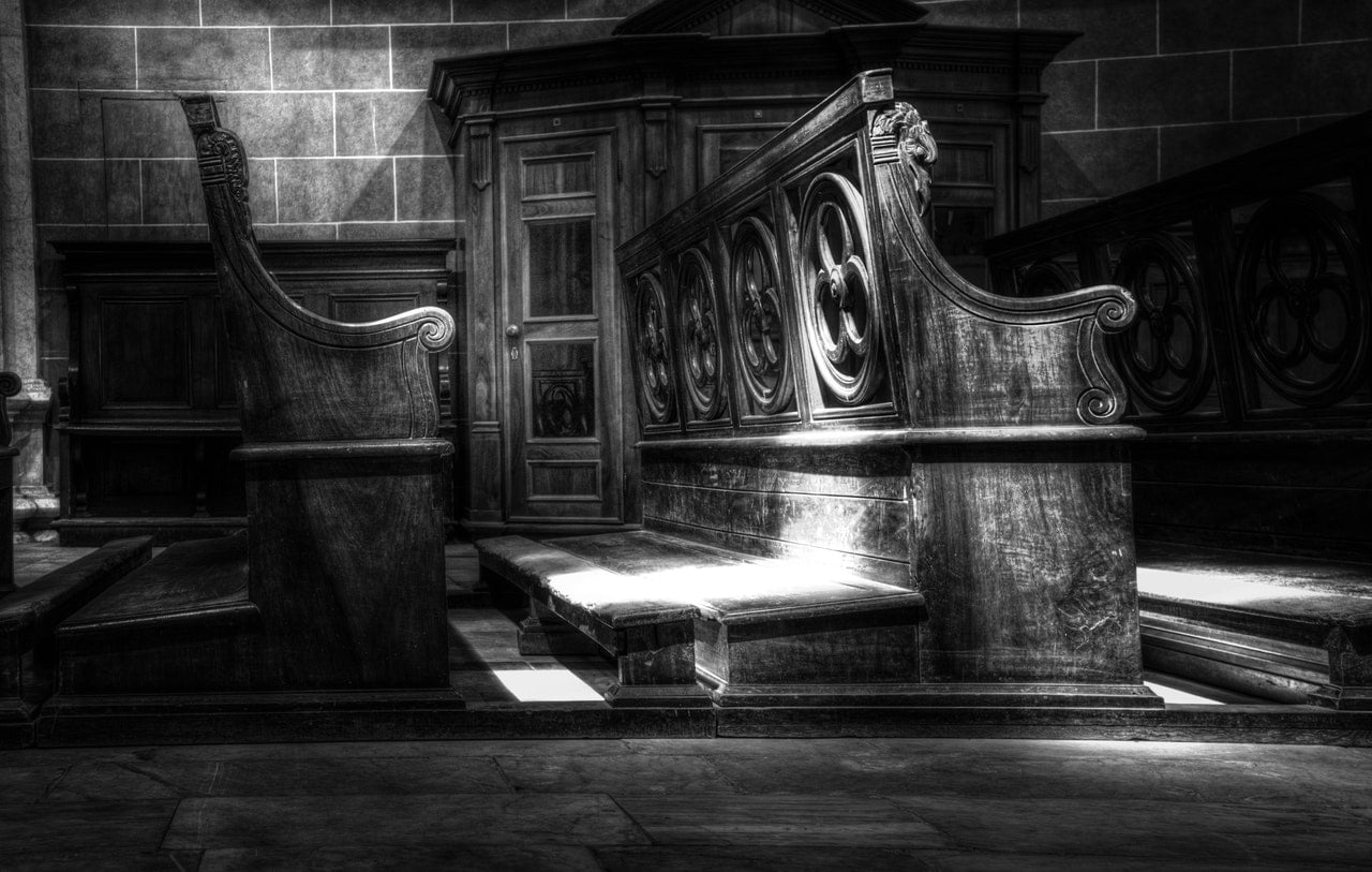black and white church pews