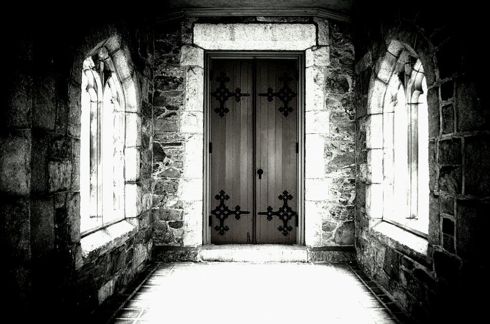 dark hallway in a church